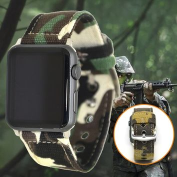 Sports Camouflage Canvas Wrist Watchband Strap for Apple Watch 38mm 42mm