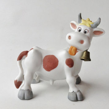 Vintage George Good, Jim Willoughby Cartoon Cow. White w/ Brown spots. Tongue sticking out