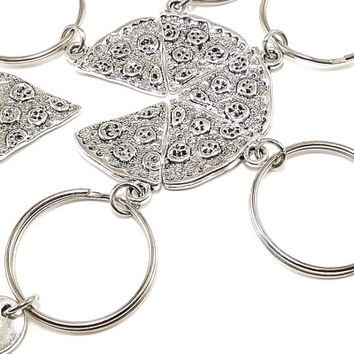 Silver Pizza keyrings, keychains, bag charms personalized monogram Item No.68