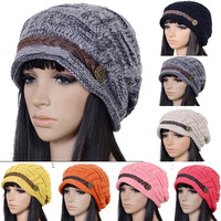 Braided Women Warm Rageared Baggy Winter Beanie Knit Crochet Ski Hat Cap Warmer = 1958354884