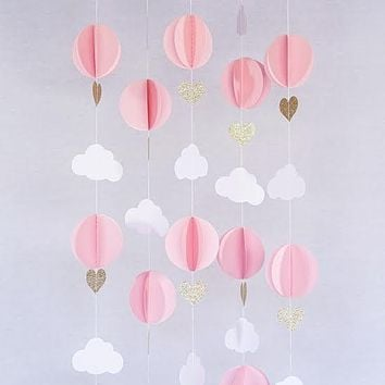 Pink White Gold Glitter Hot Air Balloon Hearts Cloud Baby Nursery Garland Banner Travel