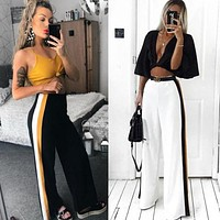 HOT 2018 New Fashion Women Casual High waist Bandage Loose Striped Wide Leg Long Pants Trousers XMAS GIFT