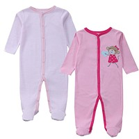 2 Pcs Baby Clothes Baby Boy Girls Footed Romper Baby Rompers 100% Cotton Sleep & Play Clothes Baby Pajamas Newborn Clothing