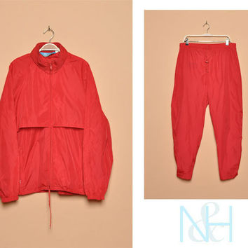 Vintage 1990s Red WOOLRICH Tracksuit with Drawstring Waist