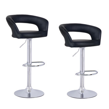 Black Leatherette Low Cut Out Back Bar Stools (Set of two)