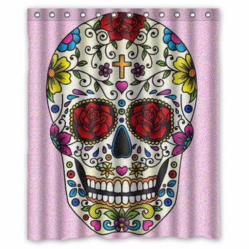"Free Shipping Classic Floral Bath Curtains Printed Cool Pirate Skull Vintage Shower Curtain Bathroom 60"" x 72"" With 12 Holes"