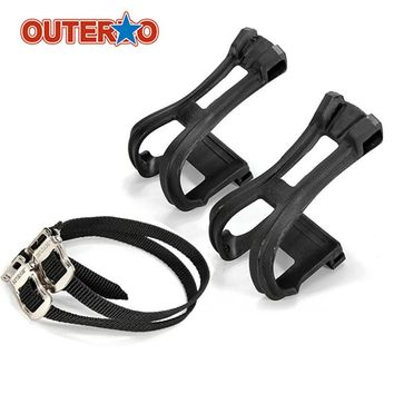 OUTERDO 2x Fixed Fixie Gear Bike Pedal Nylon Toe Straps Foot Clip Binding Bands Riding Cycling Bicicleta Black Bicycle Parts