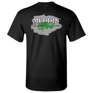 Extreme Muddin Girl in Tracks on a Black T Shirt