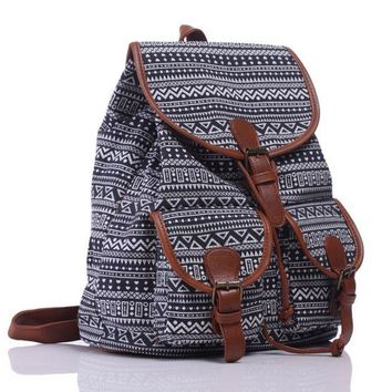 Day-First™ Black Chevron Ethnic Aztec Geometry Canvas College Backpack Casual Daypack