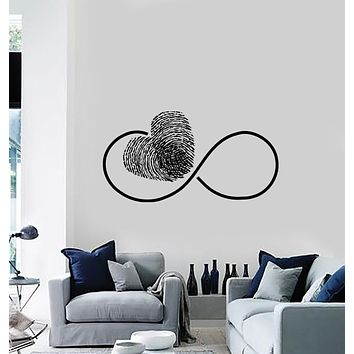 Wall Vinyl Decal Sticker Sign of Eternity with Finger Print Heart Decor Unique Gift (n1255)