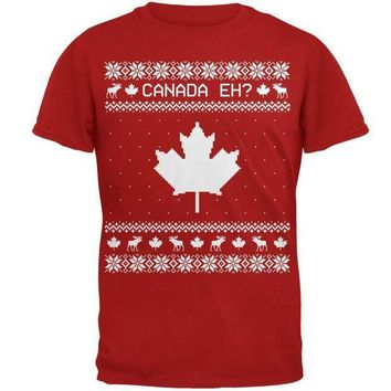 PEAPGQ9 Canadian Canada Eh Ugly Christmas Sweater Mens Soft T Shirt