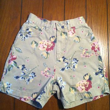 SALE Tan Floral High Waisted Shorts by namesdollface on Etsy