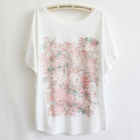 Rose Garden Batwing Loose T-shirt