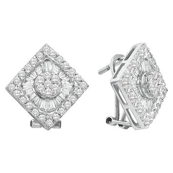 14kt White Gold Womens Round Baguette Diamond Square Frame Cluster French-clip Earrings 1-3/8 Cttw