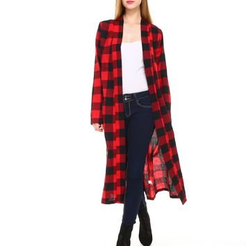 Women plaid long sleeve open maxi cardigan