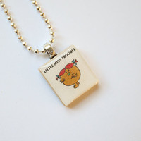 Little Miss Trouble Scrabble Pendant on 18 inch silver ball chain