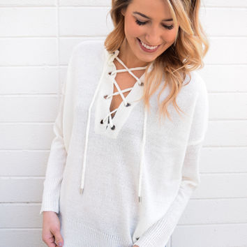 Mountain Mist Lace Up Top