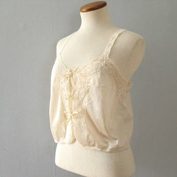beige lingerie camisole - vintage 70s ribbon tie front nude cropped top nylon floral lace blouse sheer mid century pinup retro xs small