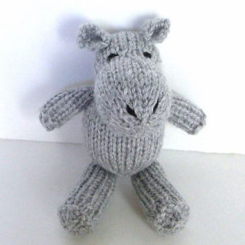 "Little Hand Knit Hippo - Baby Plush Doll Knit Animal - Newborn Photo Prop Little Hippo - Small Stuffed Animal Kids Stuffed Toy 6 1/2"" Tall"