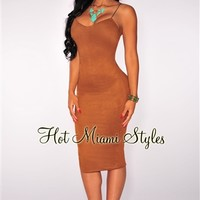 Dark Mocha Faux Suede Spaghetti Strap Dress