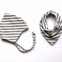 Baby hat and bib set grey stripe pixie newborn hospital hat shower gift