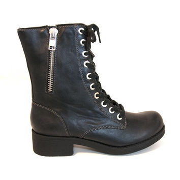 MIA Frederica - Black Lace-Up Combat Boot