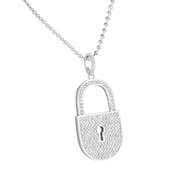 Real Silver Pad Lock Pendant Lab Diamond With Moon Cut Chain