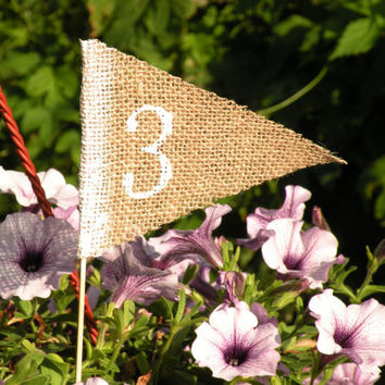Table Number, table numbers,  Rustic Wedding Table Marker Place Number Holder Stick   Wedding Table Decor Centerpiece burlap white hessian