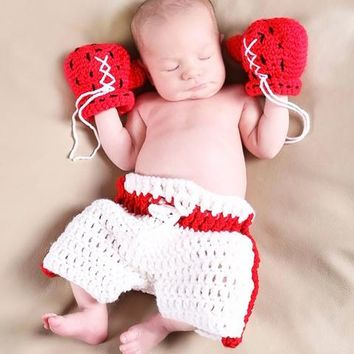 Newborn Baby Boxer Infant Knitted Crochet Costume Photo Photography