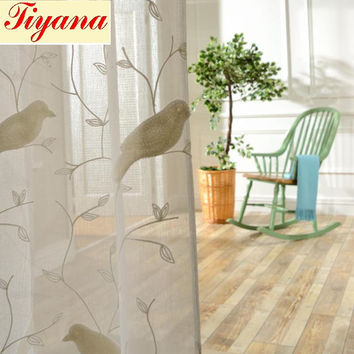 Bird Pattern 3D Embroidery Good Quality Drape Translucidus Sheer Curtain fabric Tulle Voile Curtain Window HOT SALE WP004 *15