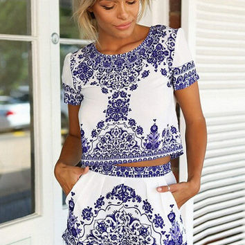 Porcelain Print Cropped Top and Shorts Set