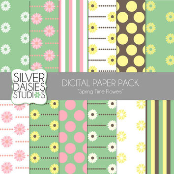 """Spring Time Flowers Digital Paper 12 Pack- 12""""x12"""" Spring Easter Flower Yellow, Chocolate, Pink, Green Themed Set - Digital Scrapbooking"""