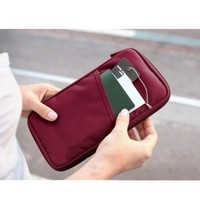 SODIAL(R) Red Travel Wallet With Closure Zip Document