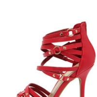 Stop and Stun Red Strappy High Heel Sandals