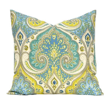 Decorative Pillow Cover, Latika, Throw Pillow Cover, Designer Linen Fabric Latika Lime, Aqua and Blue Pillows Same Fabric Front and Back