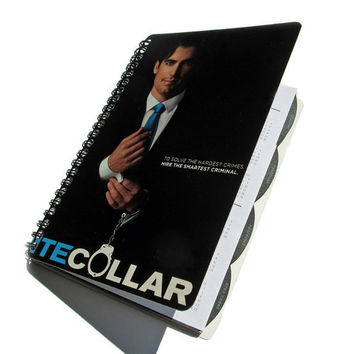 White Collar 2012 - 2013 UpCycled Daily Planner Academic Agenda Calendar