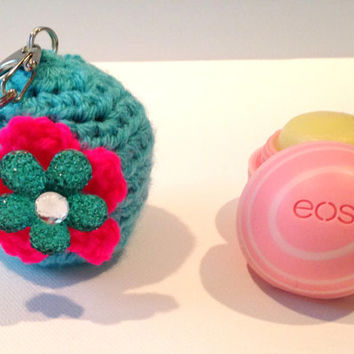 EOS Lip Balm Cozy/Holder - Turquoise with Neon Pink and Turquoise Flower Button - with Split Ring/Lobster Clasp for Clip-On