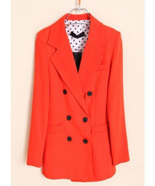 Women Autumn New Style Euro Style Double-Breasted Casual Long Sleeve Orange Polyester Suit S/M/L@WH0071o $24.39 only in eFexcity.com.
