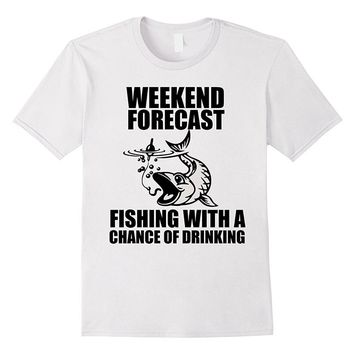 Weekend Forecast Fishing T-Shirts - Men's Crew Neck Novelty Top Tee