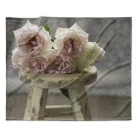 "Cristina Mitchell ""Roses on Stool"" Floral Photography Fleece Throw Blanket"