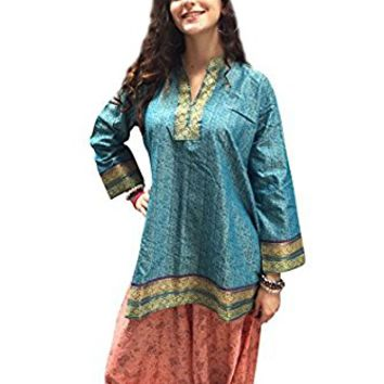 Mogul Womans Tunic Top Sari Border Bohemian Hippie Blue Ethnic Blouse Shirt S