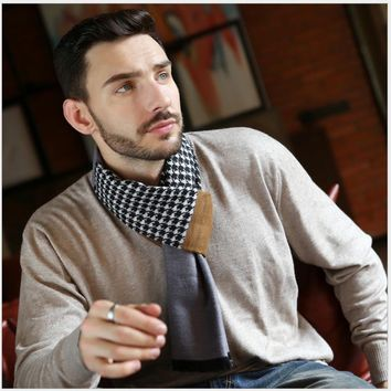 Winter Autumn Designer Men Scarf Scarves Thick Thermal Printed Men's Scarf Warm Cotton Cashmere Wool Blended Brushed Male Scarf