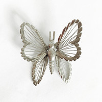 Vintage Silver Tone Monet Butterfly Brooch, Spinneret Wired Butterfly Pin, Spinnerets Brooch, Silver Butterfly, Open Work, Designer Jewelry