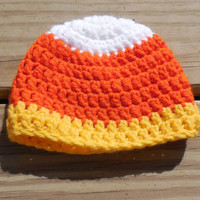 Candy Corn Crochet Baby Hat, Unisex Baby Hat , Halloween Photo Prop,  Baby Girl Baby Boy Crochet  Hat