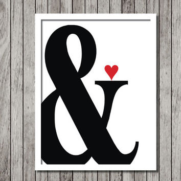 Ampersand Art Print - Minimal Art Print - 8.5x11 Black and white Typography Print - Ready to Frame