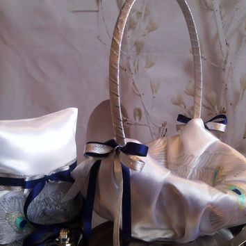 Hand painted white flower girl basket peacock feathers in silver, blue and turquoise Wedding favor