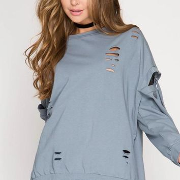 Long Sleeve Pullover Top with Distressed Detail and Sleeve Buckles in Dusty Blue
