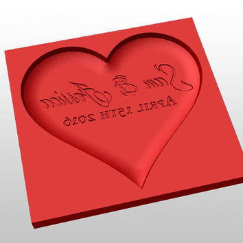 Heart shaped chocolate mold - personalized custom wedding or valentine day gift.