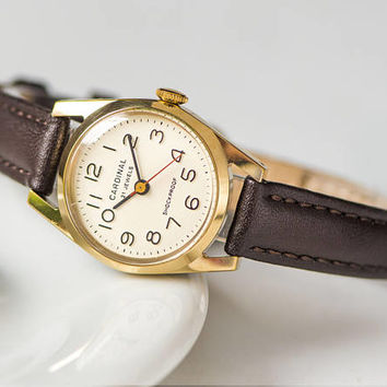Vintage women's watch Cardinal, gold plated wristwatch USSR for export, round watch burgundy, shockproof watch, premium leather strap new