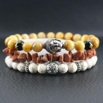 Beasivor Yellow Tiger eyes AAA grade Natural Stones Bracelets Antique silver Buddha Head Gravel Beads Men Wrap Bracelets